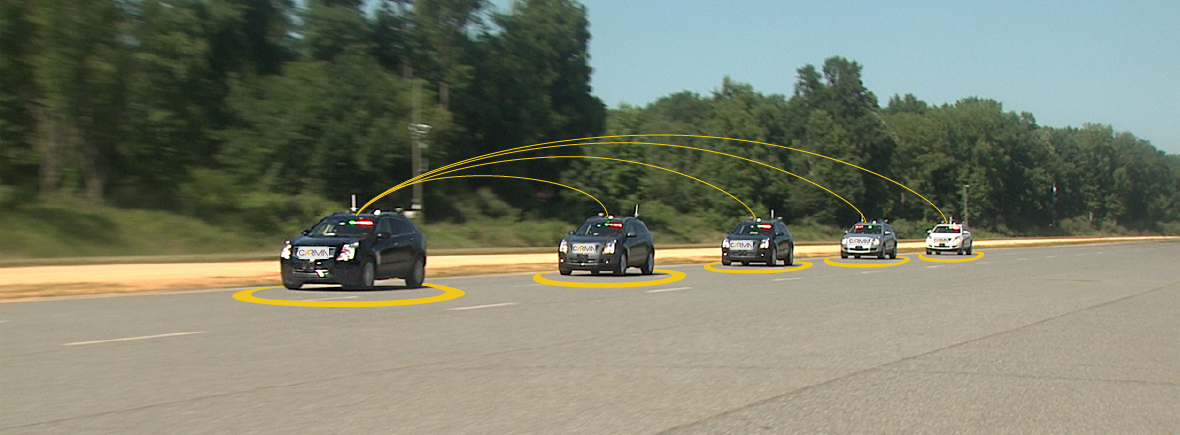 Five cars on a road with yellow arcs depicting automated communication between each car