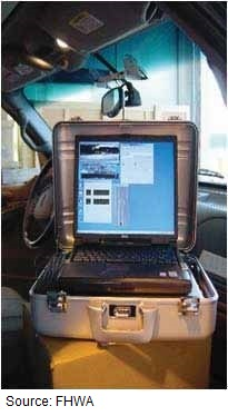 Photo of the front windshield window of a vehicle with a camera shows the rear-view mirror and a portable processing system in an open aluminum suitcase sitting on the glove compartment.